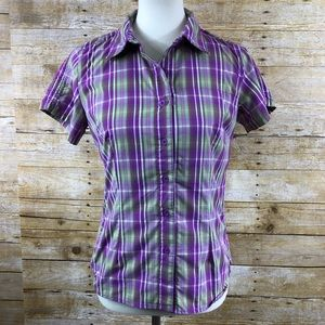 North Face Short Sleeve Purple/Green Button Down